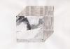 """""""O.T. (Corviale VIII), 2017, Klebestreifen und Kohle auf Papier, 25 x 38 cm"""